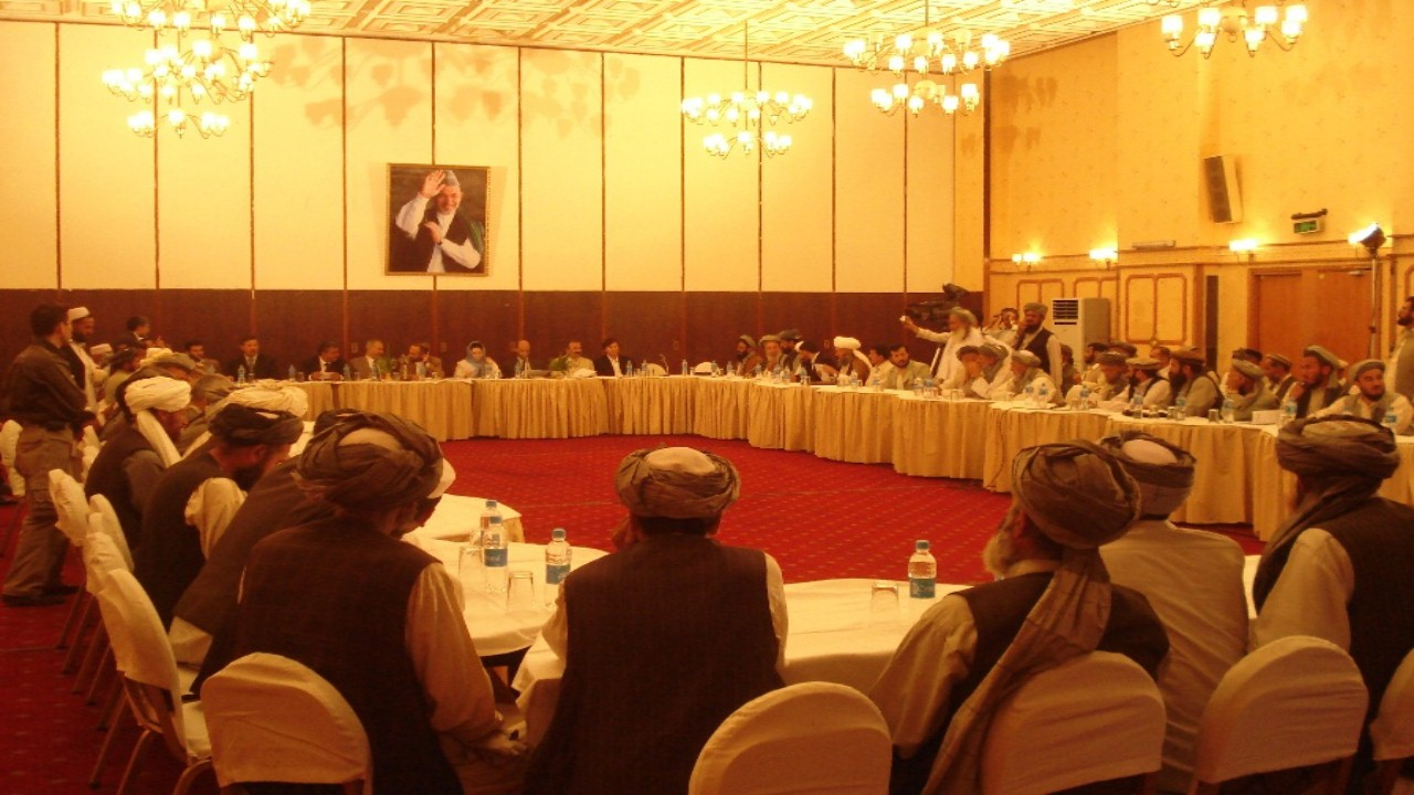 Community elders discussing regional problems and solutions at the WADANNMA General Assembly in Kabul in 2007